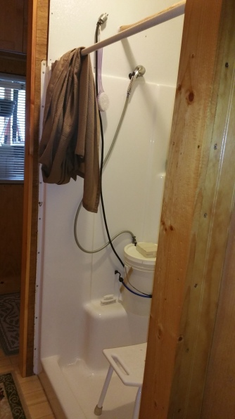 Our luxurious 5 gallon bucket shower